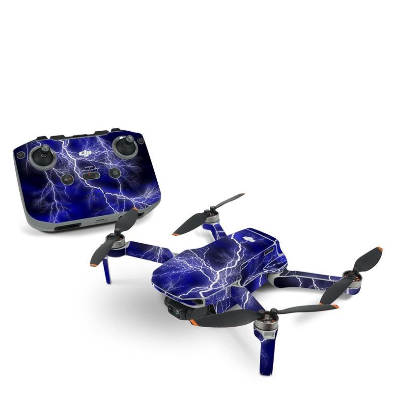 DJI Mini 2 Skin design of Thunder, Lightning, Thunderstorm, Sky, Nature, Electric blue, Atmosphere, Daytime, Blue, Atmospheric phenomenon with blue, black, white colors