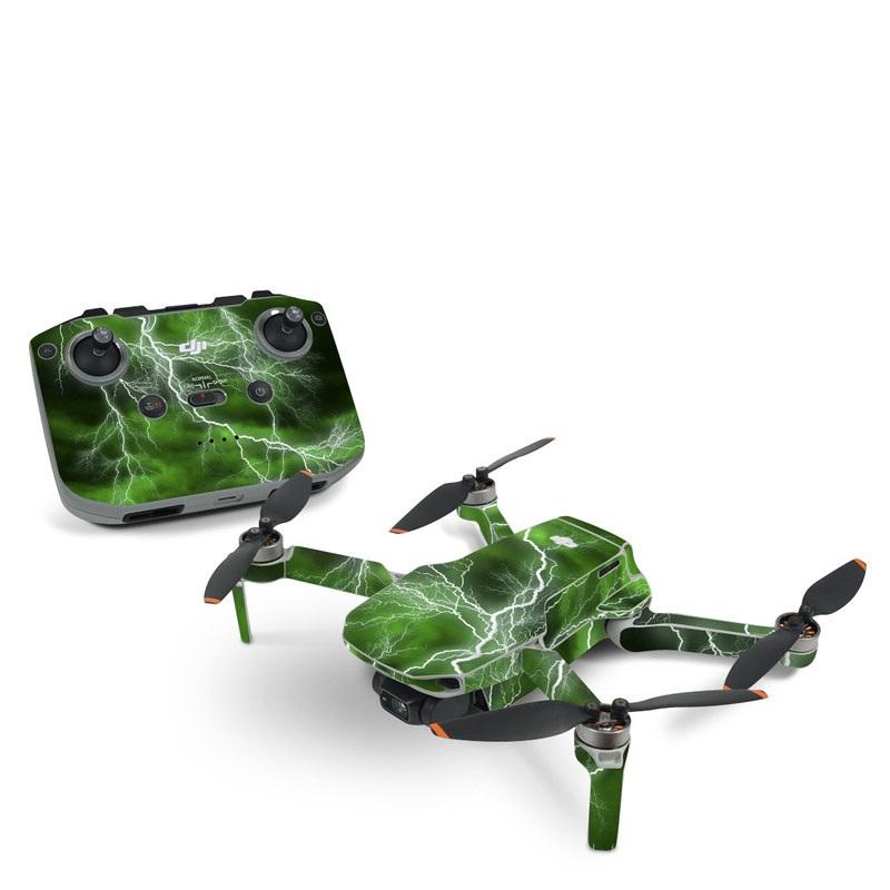 DJI Mini 2 Skin design of Thunderstorm, Thunder, Lightning, Nature, Green, Water, Sky, Atmosphere, Atmospheric phenomenon, Daytime with green, black, white colors
