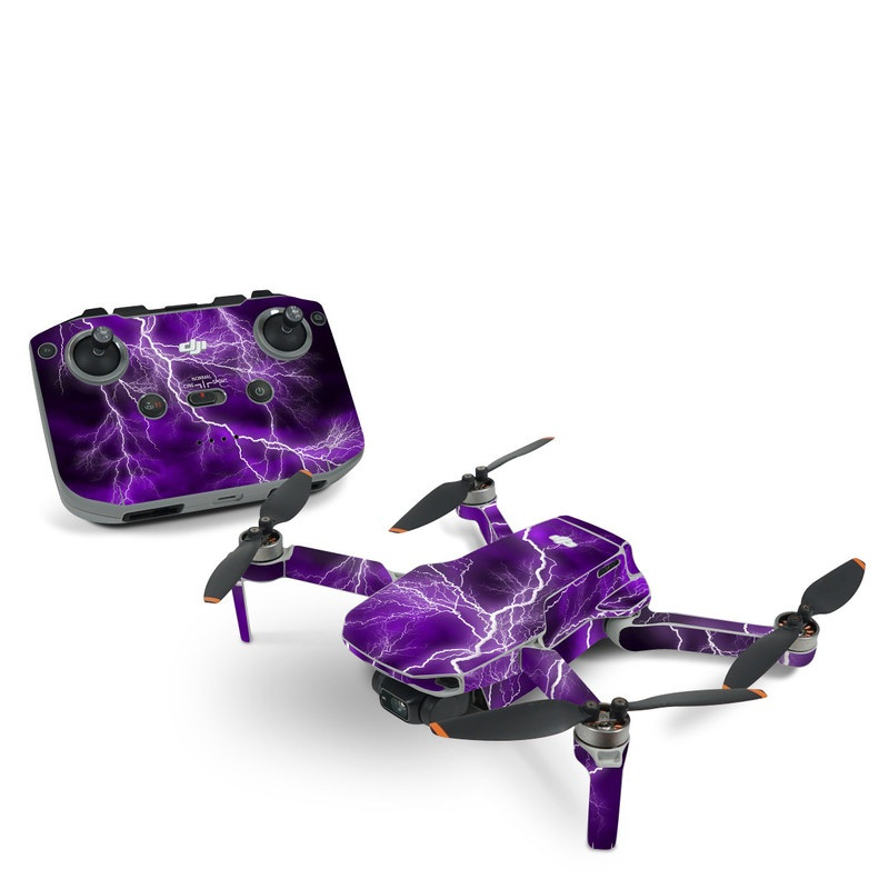 DJI Mavic Mini 2 Skin design of Thunder, Lightning, Thunderstorm, Sky, Nature, Purple, Violet, Atmosphere, Storm, Electric blue with purple, black, white colors