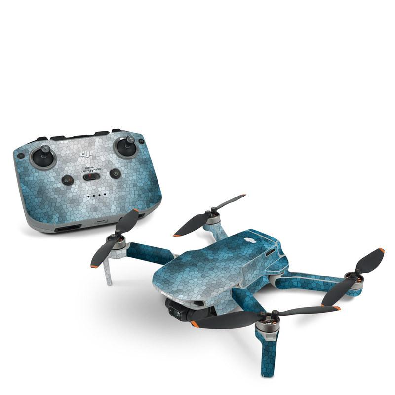 DJI Mavic Mini 2 Skin design of Blue, Aqua, Turquoise, Green, Water, Teal, Sky, Azure, Pattern, Atmosphere with blue, white, gray colors