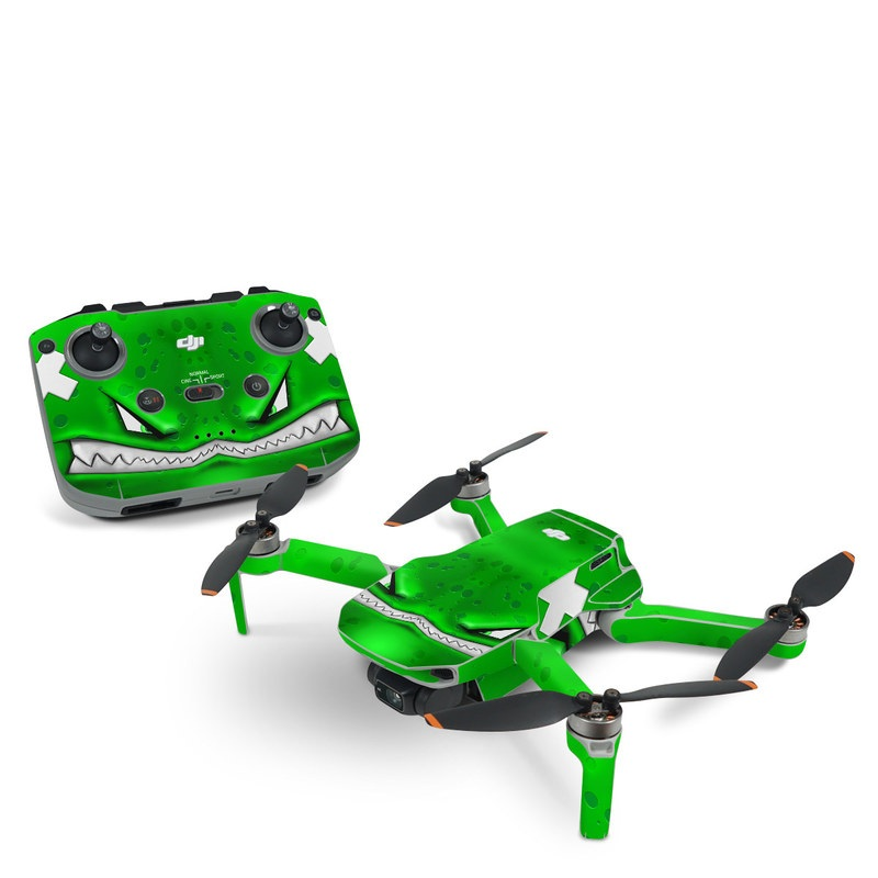 DJI Mini 2 Skin design of Green, Font, Animation, Logo, Graphics, Games with green, white colors