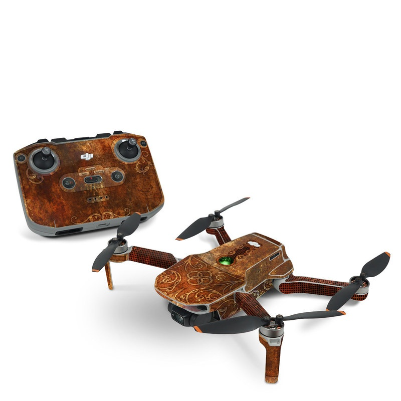 DJI Mini 2 Skin design with brown, red, yellow, green, orange colors