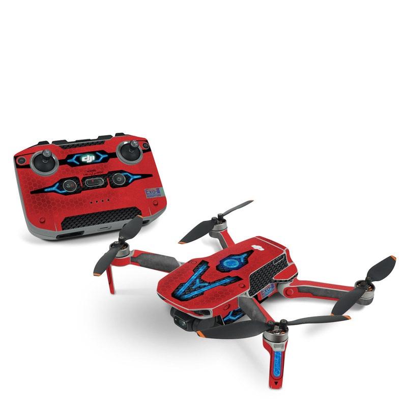 DJI Mini 2 Skin design with red, black, blue colors