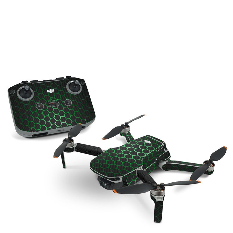 DJI Mavic Mini 2 Skin design of Pattern, Metal, Design, Carbon, Space, Circle with black, gray, green colors