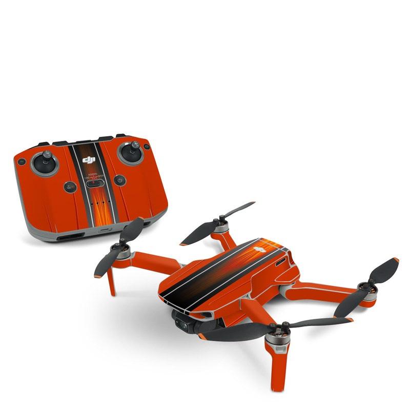 DJI Mavic Mini 2 Skin design of Orange, Red, Line, Material property, Rectangle, Automotive lighting with red, black, orange, gray colors