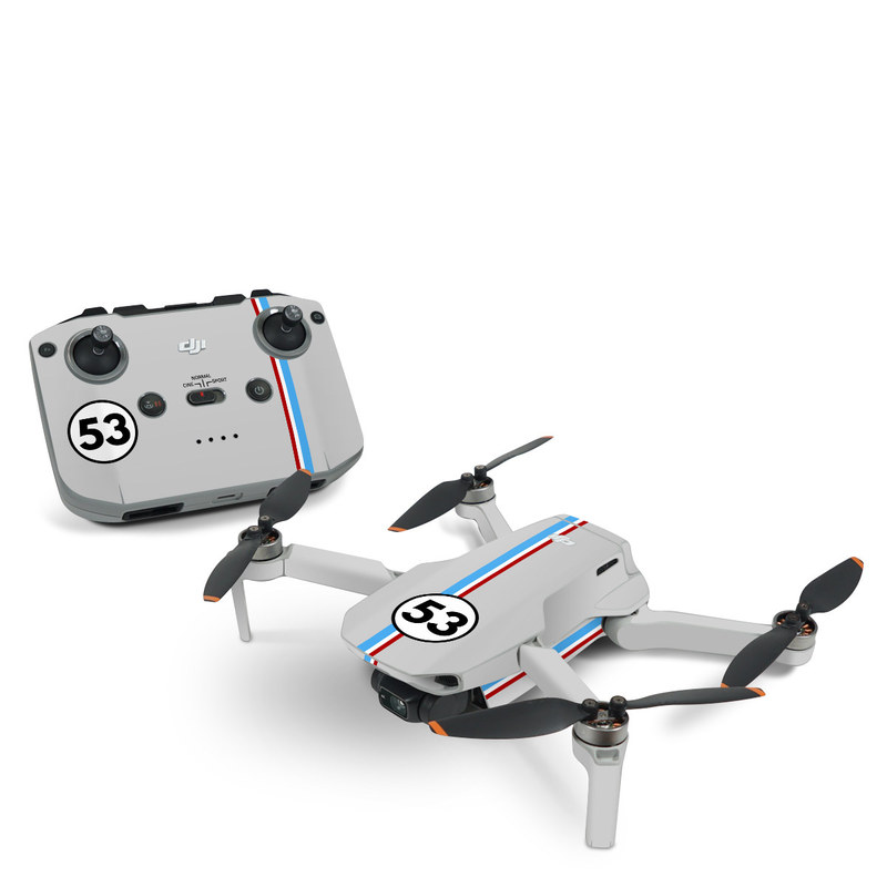 DJI Mini 2 Skin design of Line, Sign, Games with gray, blue, red, white, black colors
