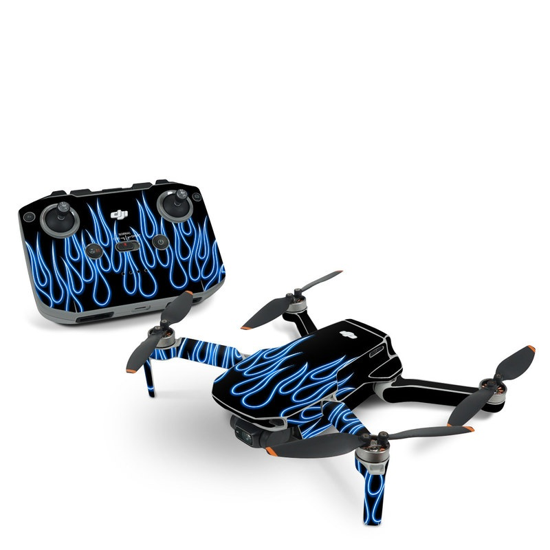 DJI Mini 2 Skin design of Text, Light, Font, Neon, Design, Graphics, Electric blue, Neon sign, Pattern, Darkness with black, blue colors