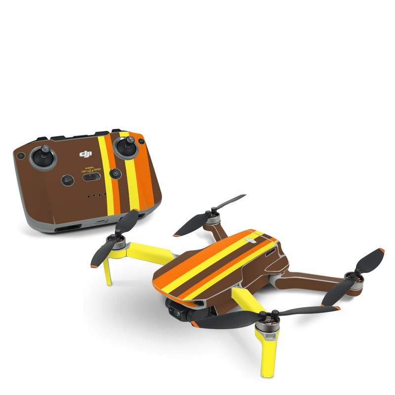 DJI Mini 2 Skin design of Orange, Yellow, Line, Brown, Font, Material property, Graphic design, Pattern, Parallel with brown, orange, yellow colors