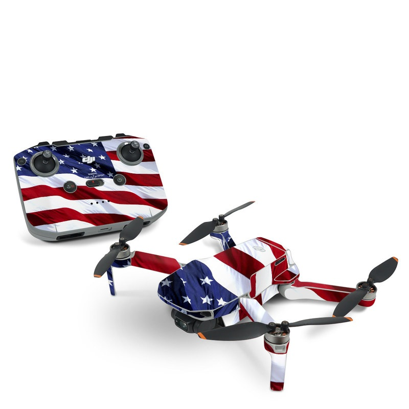 DJI Mini 2 Skin design of Flag, Flag of the united states, Flag Day (USA), Veterans day, Memorial day, Holiday, Independence day, Event with red, blue, white colors