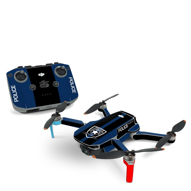 DJI Mini 2 Skin design with black, white, blue, red colors