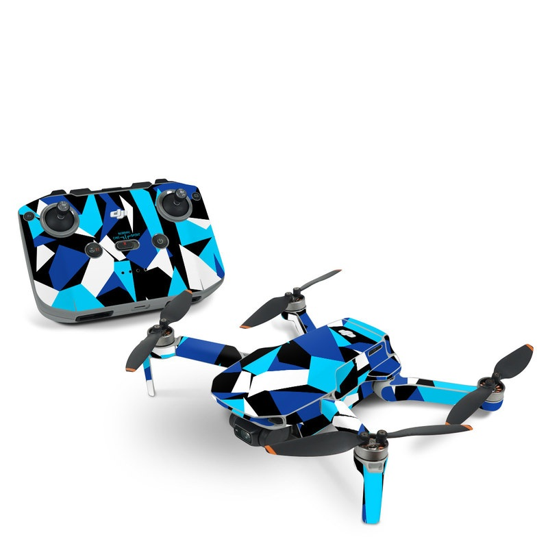 DJI Mini 2 Skin design of Blue, Pattern, Turquoise, Cobalt blue, Teal, Design, Electric blue, Graphic design, Triangle, Font with blue, white, black colors