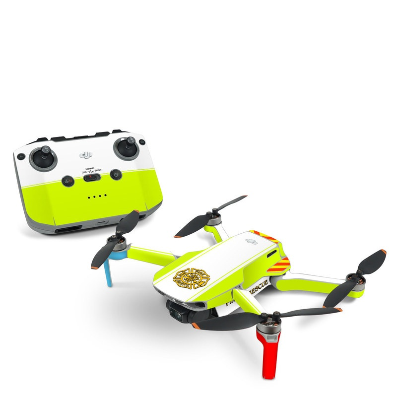 DJI Mavic Mini 2 Skin design of Yellow, Line, Font, Military rank with white, green, red, yellow colors