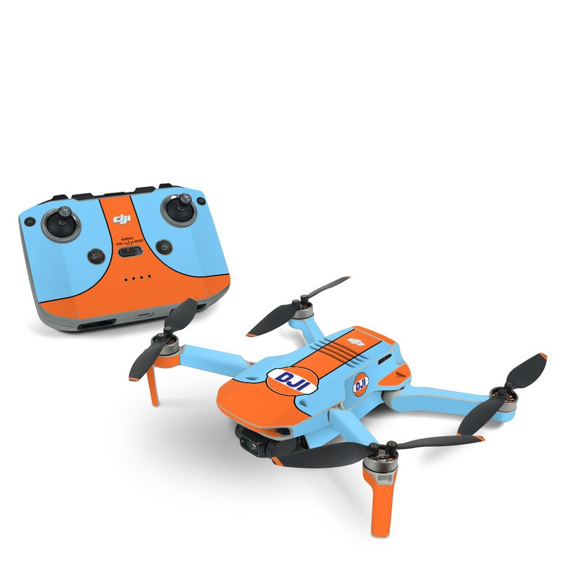 DJI Mavic Mini 2 Skin design of Line with blue, orange, black colors