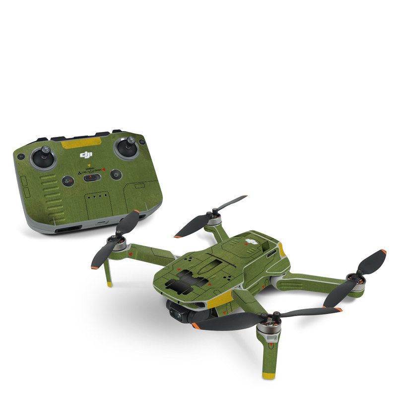DJI Mini 2 Skin design with green, black, yellow, red colors