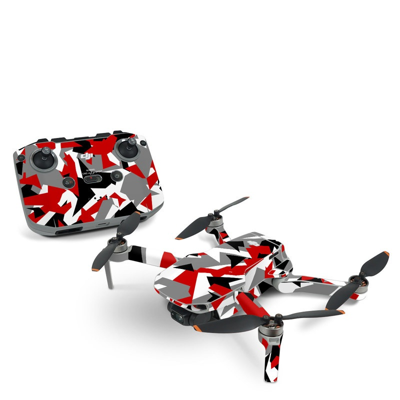 DJI Mavic Mini 2 Skin design of Red, Pattern, Font, Design, Textile, Carmine, Illustration, Flag, Crowd with red, white, black, gray colors