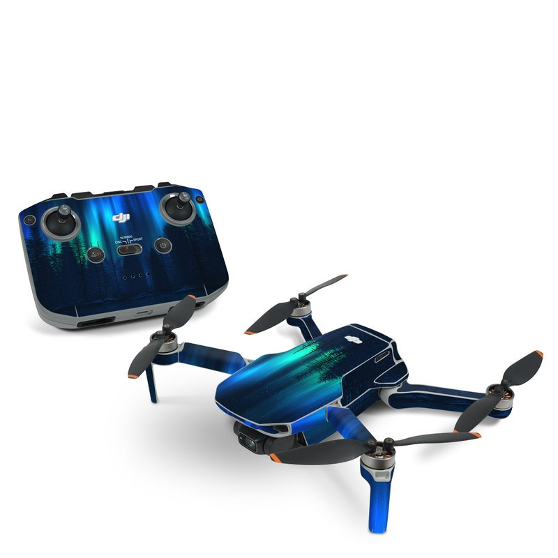 DJI Mini 2 Skin design of Blue, Light, Natural environment, Tree, Sky, Forest, Darkness, Aurora, Night, Electric blue with black, blue colors