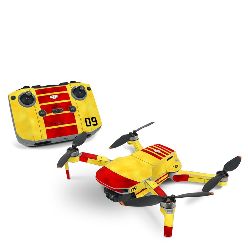 DJI Mini 2 Skin design with red, yellow, black colors