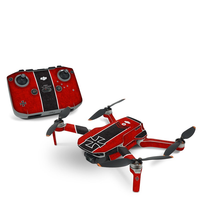 DJI Mini 2 Skin design of Bullet, Holes, War, Red, Text, Carmine, Colorfulness, Maroon, Symbol, Coquelicot with red, black, white, gray colors