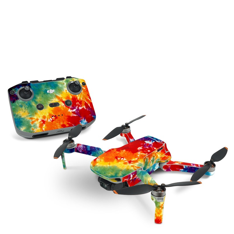 DJI Mavic Mini 2 Skin design of Orange, Watercolor paint, Sky, Dye, Acrylic paint, Colorfulness, Geological phenomenon, Art, Painting, Organism with red, orange, blue, green, yellow, purple colors