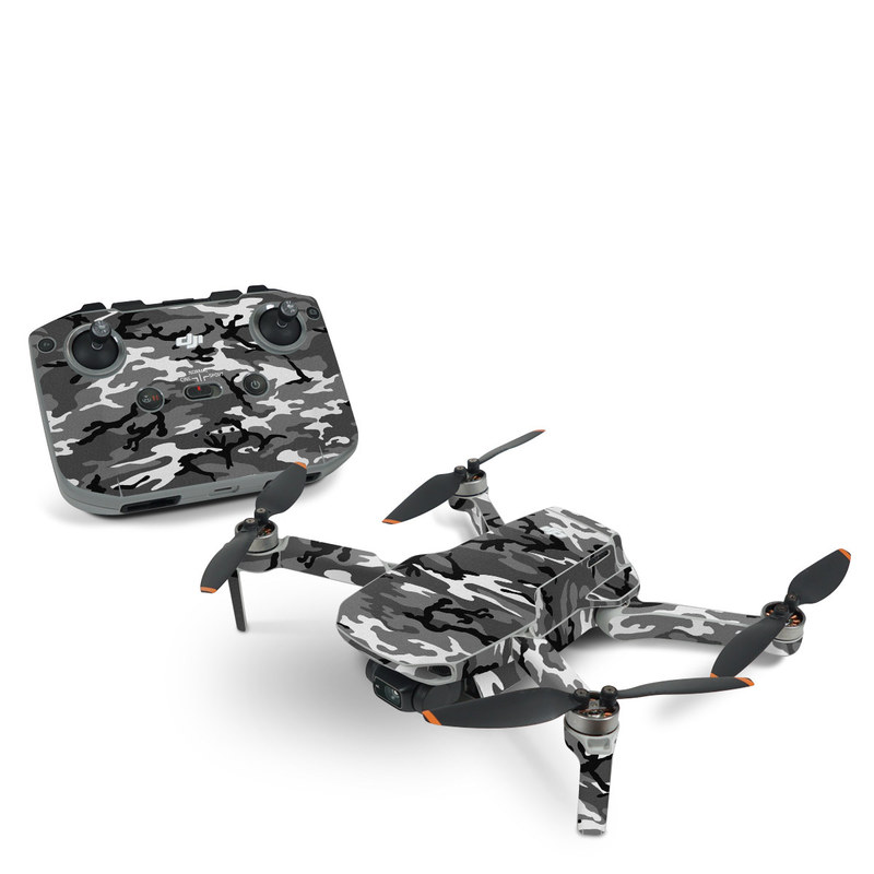 DJI Mini 2 Skin design of Military camouflage, Pattern, Clothing, Camouflage, Uniform, Design, Textile with black, gray colors