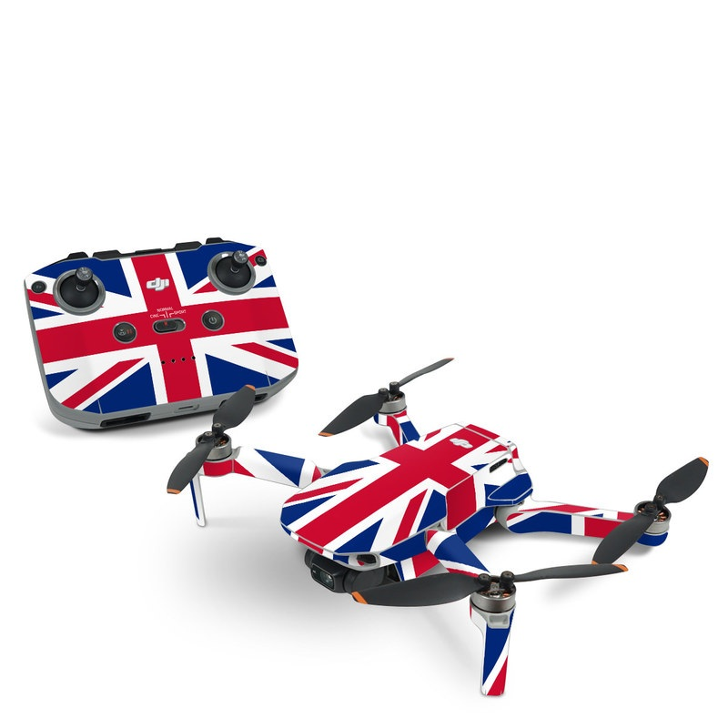 DJI Mini 2 Skin design of Flag, Red, Line, Electric blue, Design, Font, Pattern, Parallel, Flag Day (USA) with red, white, blue colors
