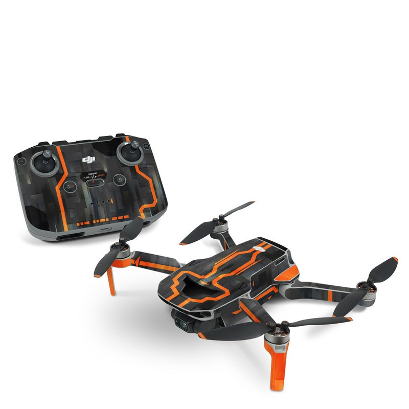 DJI Mini 2 Skin design with black, gray, orange colors