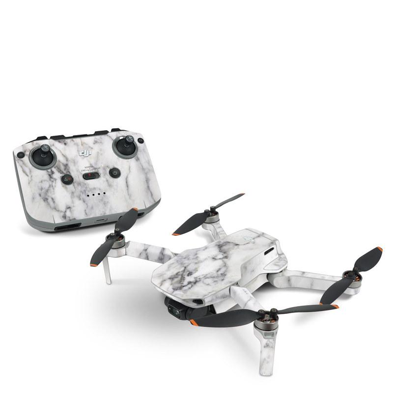 DJI Mini 2 Skin design of White, Geological phenomenon, Marble, Black-and-white, Freezing with white, black, gray colors