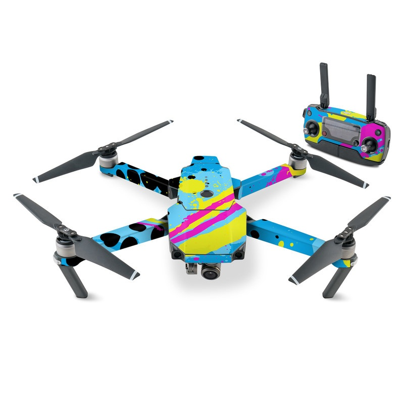 DJI Mavic Pro Skin design of Blue, Colorfulness, Graphic design, Pattern, Water, Line, Design, Graphics, Illustration, Visual arts with blue, black, yellow, pink colors