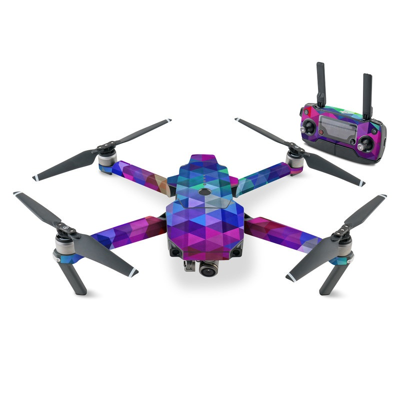 DJI Mavic Pro Skin design of Purple, Violet, Pattern, Blue, Magenta, Triangle, Line, Design, Graphic design, Symmetry with blue, purple, green, red, pink colors