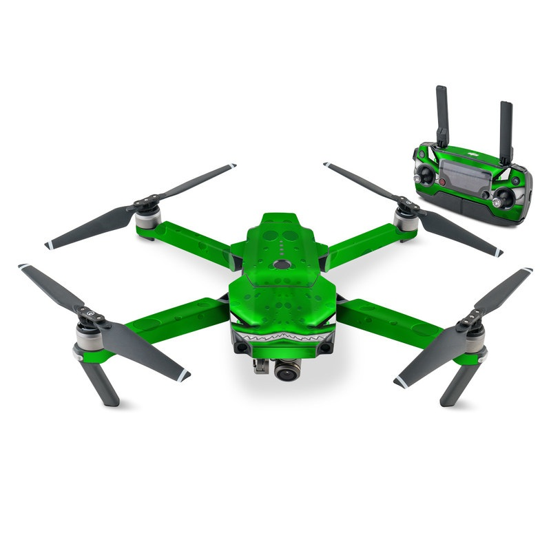 DJI Mavic Pro Skin design of Green, Font, Animation, Logo, Graphics, Games with green, white colors