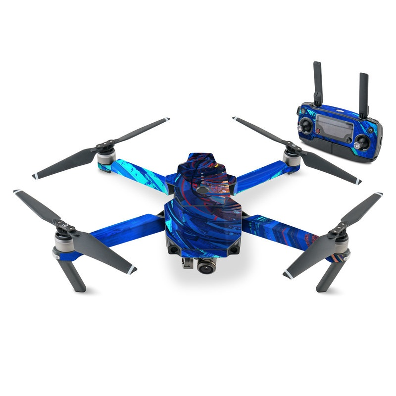 DJI Mavic Pro Skin design of Blue, Water, Circle, Vortex, Electric blue, Wave, Liquid, Graphics, Pattern, Colorfulness with blue, orange, yellow colors