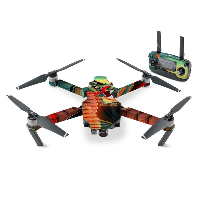 DJI Mavic Pro Skin design of Dragon, Fictional character, Illustration, Art, Cg artwork, Fiction, Mythical creature, Graphics with black, green, red, yellow, orange colors