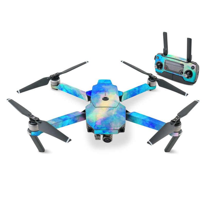 DJI Mavic Pro Skin design of Blue, Turquoise, Aqua, Pattern, Dye, Design, Sky, Electric blue, Art, Watercolor paint with blue, purple colors
