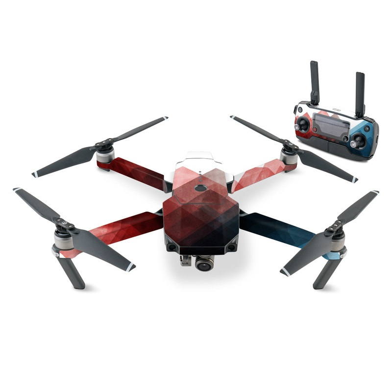 DJI Mavic Pro Skin design of Blue, Red, Sky, Pink, Line, Architecture, Font, Graphic design, Colorfulness, Illustration with red, pink, blue colors