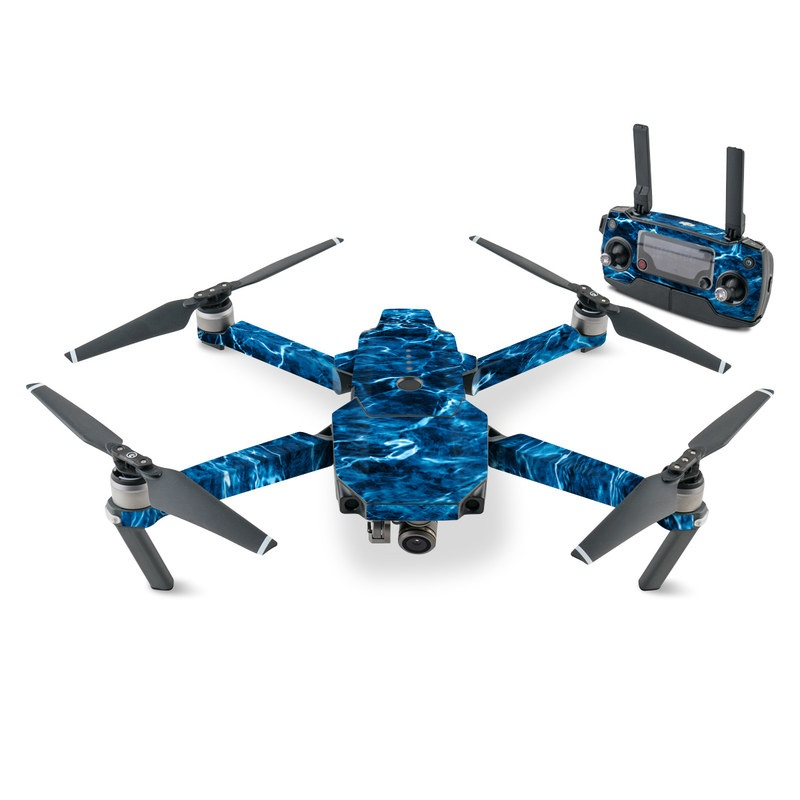 DJI Mavic Pro Skin design of Blue, Water, Aqua, Turquoise, Azure, Electric blue, Sky, Pattern, Sea, Ocean with blue, black colors