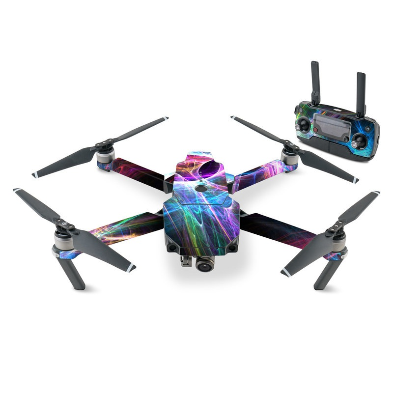 DJI Mavic Pro Skin design of Fractal art, Light, Pattern, Purple, Graphic design, Design, Colorfulness, Electric blue, Art, Neon with black, gray, blue, purple colors