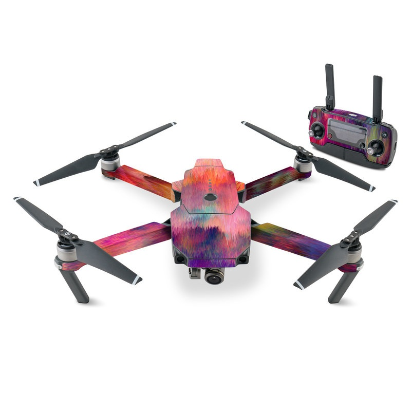 DJI Mavic Pro Skin design of Sky, Purple, Pink, Blue, Violet, Painting, Watercolor paint, Lavender, Cloud, Art with red, blue, purple, orange, green colors