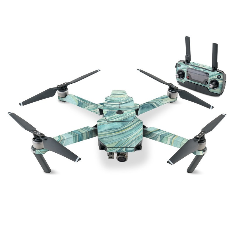 DJI Mavic Pro Skin design of Aqua, Blue, Pattern, Turquoise, Teal, Water, Design, Line, Wave, Textile with gray, blue colors