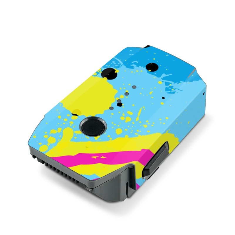 DJI Mavic Pro Battery Skin design of Blue, Colorfulness, Graphic design, Pattern, Water, Line, Design, Graphics, Illustration, Visual arts with blue, black, yellow, pink colors