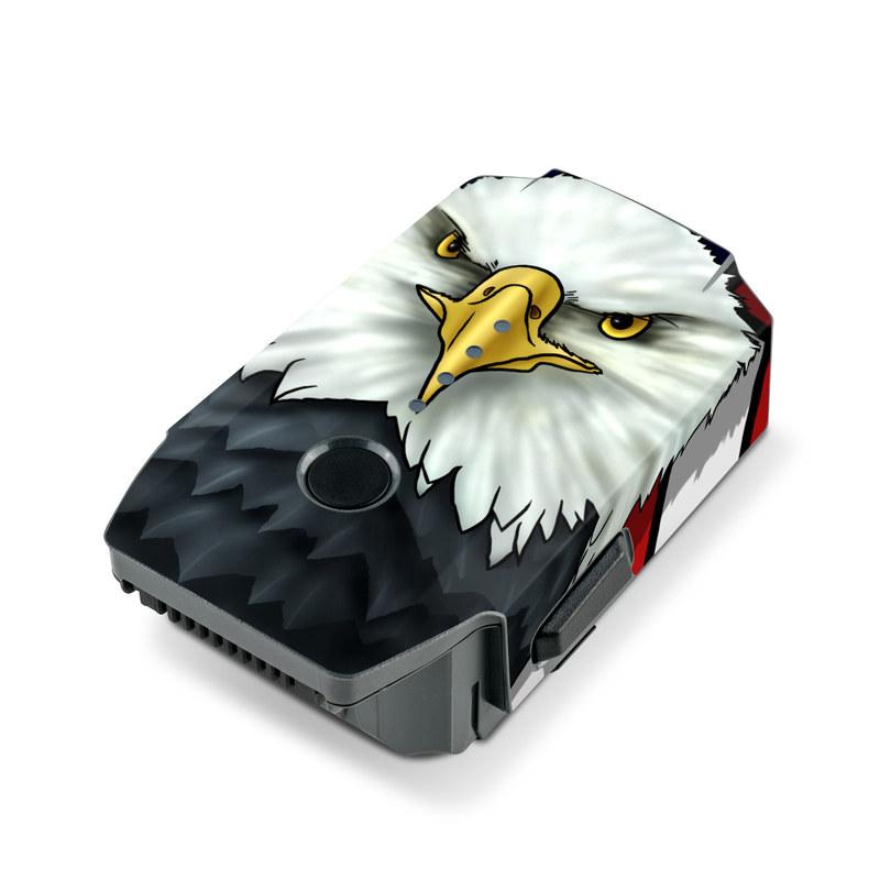 DJI Mavic Pro Battery Skin design of Bald eagle, Eagle, Bird, Bird of prey, Accipitridae, Beak, Accipitriformes, Sea eagle, Flag with white, gray, blue, yellow, red colors