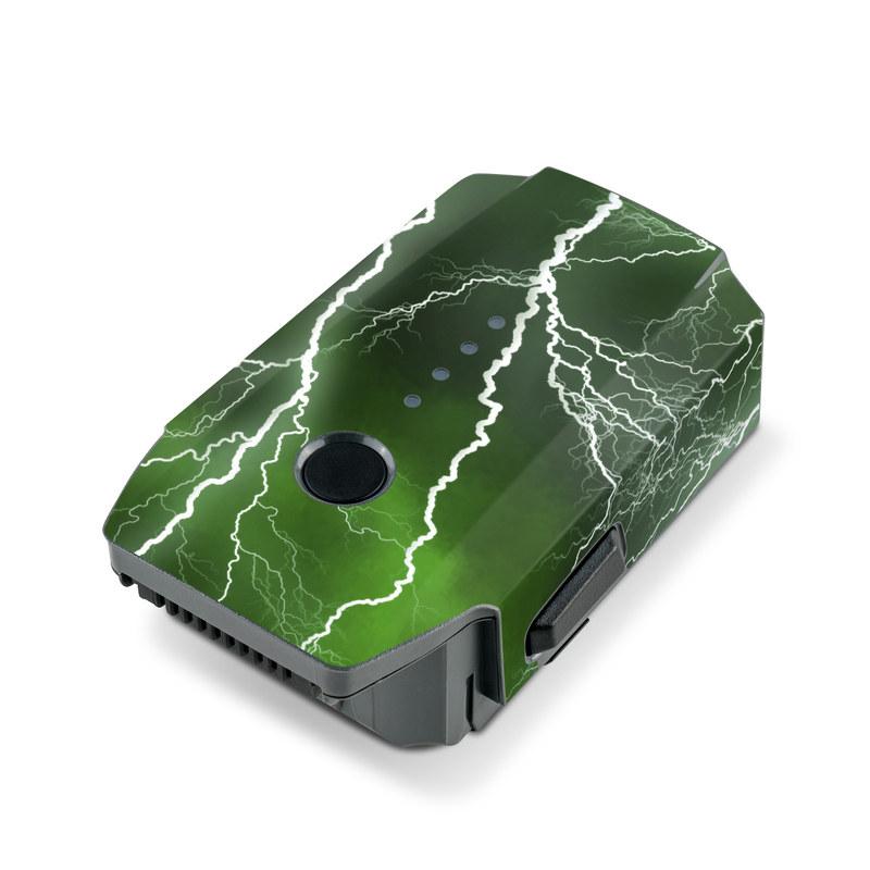 DJI Mavic Pro Battery Skin design of Thunderstorm, Thunder, Lightning, Nature, Green, Water, Sky, Atmosphere, Atmospheric phenomenon, Daytime with green, black, white colors