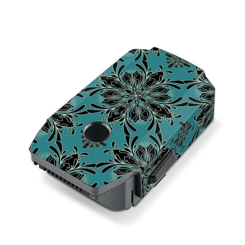DJI Mavic Pro Battery Skin design of Green, Pattern, Teal, Turquoise, Symmetry, Design, Textile, Plant with green, blue, black colors