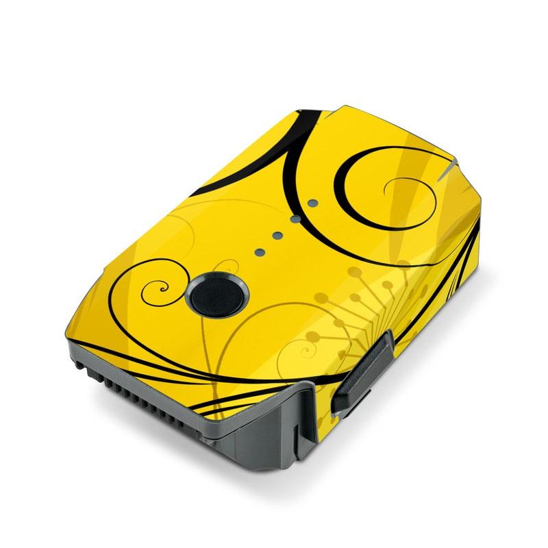 DJI Mavic Pro Battery Skin design of Yellow, Pattern, Floral design, Purple, Graphic design, Design, Wallpaper, Art, Illustration, Visual arts with orange, yellow, black, purple colors