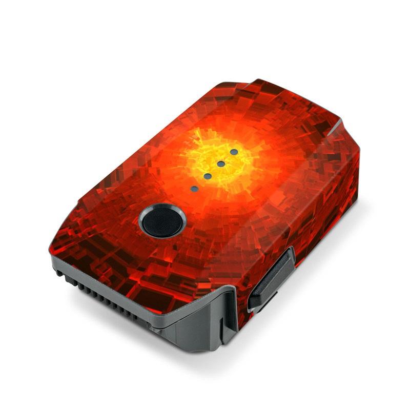 DJI Mavic Pro Battery Skin design of Red, Fractal art, Light, Circle, Design, Art, Graphics, Symmetry, Pattern, Space with black, red colors