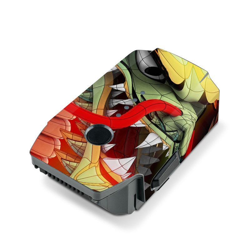 DJI Mavic Pro Battery Skin design of Dragon, Fictional character, Illustration, Art, Cg artwork, Fiction, Mythical creature, Graphics with black, green, red, yellow, orange colors