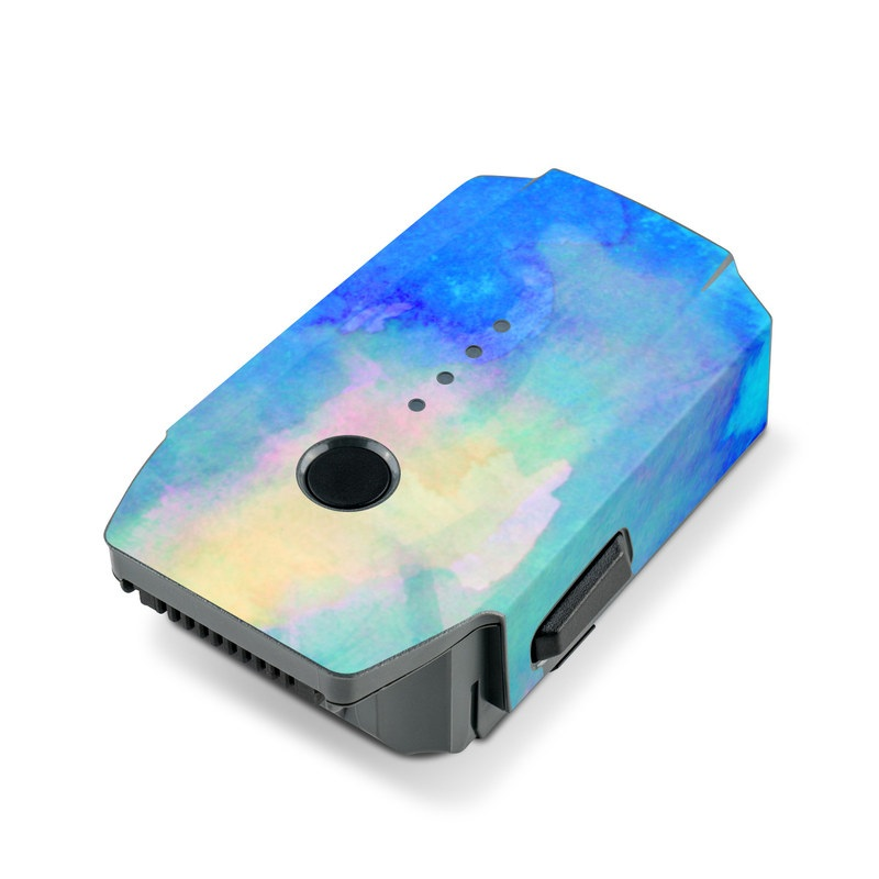 DJI Mavic Pro Battery Skin design of Blue, Turquoise, Aqua, Pattern, Dye, Design, Sky, Electric blue, Art, Watercolor paint with blue, purple colors