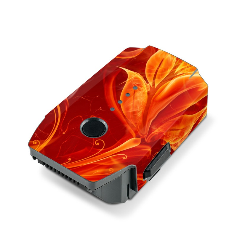 DJI Mavic Pro Battery Skin design of Flame, Fire, Heat, Red, Orange, Fractal art, Graphic design, Geological phenomenon, Design, Organism with black, red, orange colors