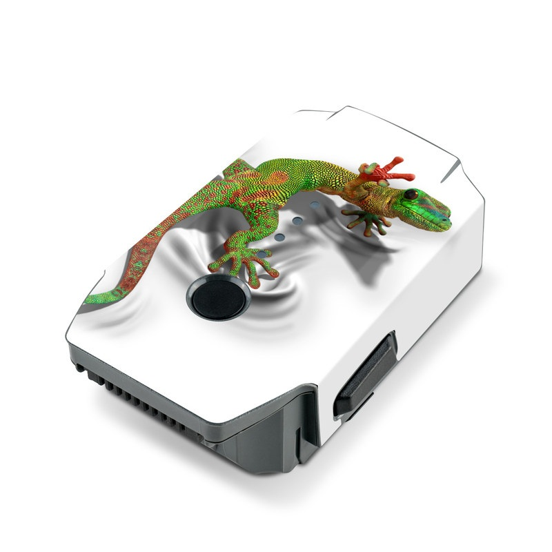 DJI Mavic Pro Battery Skin design of Lizard, Reptile, Gecko, Scaled reptile, Green, Iguania, Animal figure, Wall lizard, Fictional character, Iguanidae with white, gray, black, red, green colors