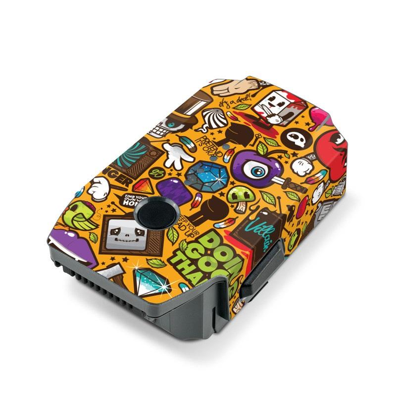 DJI Mavic Pro Battery Skin design of Pattern, Psychedelic art, Visual arts, Art, Design, Illustration, Graphic design, Doodle with black, green, red, gray, orange, blue colors