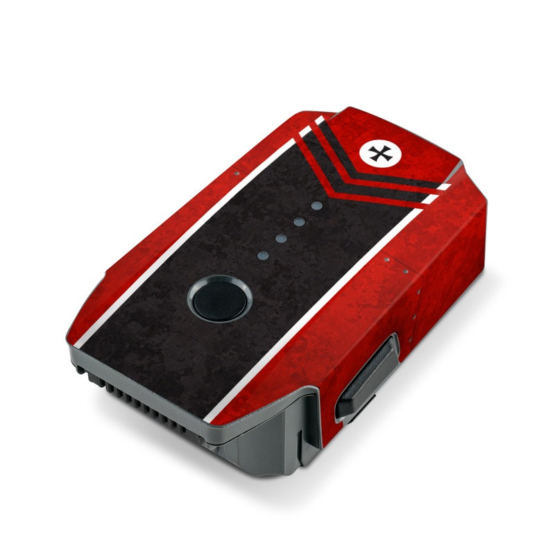 DJI Mavic Pro Battery Skin design of Bullet, Holes, War, Red, Text, Carmine, Colorfulness, Maroon, Symbol, Coquelicot with red, black, white, gray colors